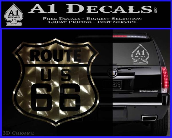 Route 66 decal sticker 3dchrome vinyl 120x97