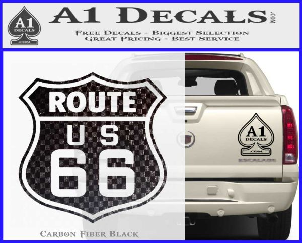 Route 66 decal sticker carbon fiber black vinyl 120x97