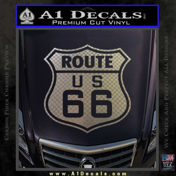 Route 66 decal sticker carbon fiber chrome vinyl 120x120