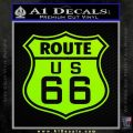 Route 66 Decal Sticker Lime Green Vinyl 120x120