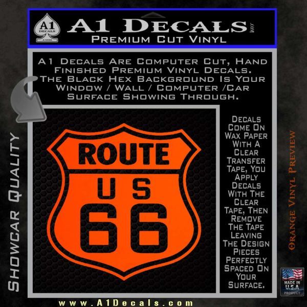 Route 66 decal sticker orange emblem 120x120