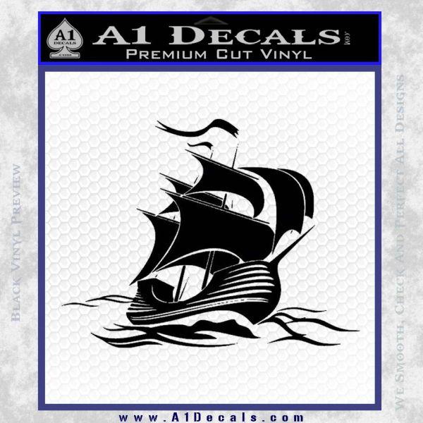 Sailing Boat Decal Sticker Black Vinyl