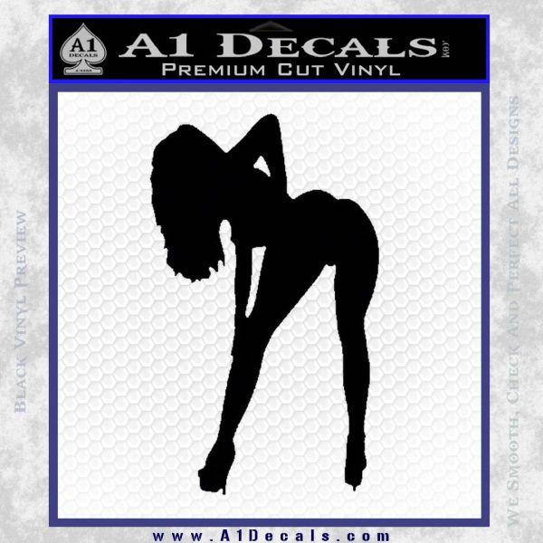 Sexy Girl Bending Decal Sticker Black Vinyl