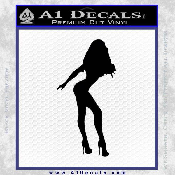Sexy Girl Decal Sticker Standing Black Vinyl