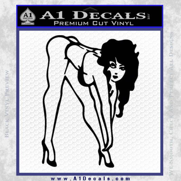 Sexy Race Girl Decal Sticker Black Vinyl