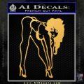 Sexy Race Girl Decal Sticker Gold Vinyl 120x120