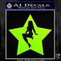 Star Pinup Decal Sticker Neon Green Vinyl 120x120