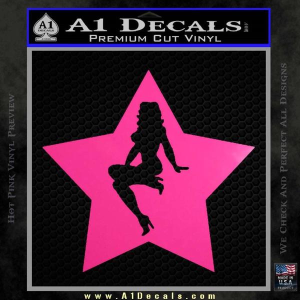 Star Pinup Decal Sticker Neon Pink Vinyl