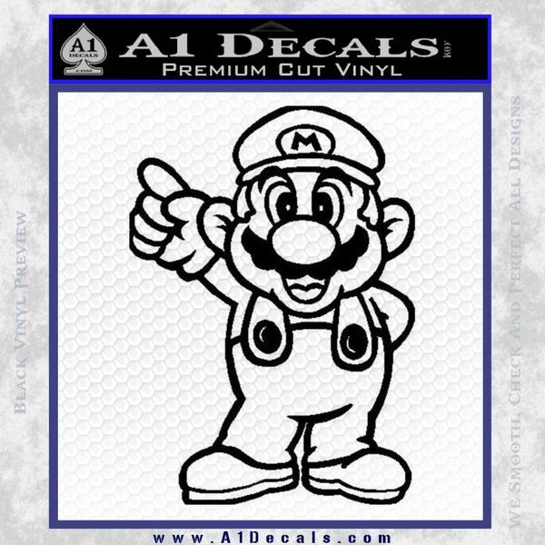 Super Mario Decal Sticker Black Standing Decal Sticker Black Vinyl