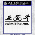 Swim Bike Run Triathlon Decal Sticker Black Vinyl 120x120