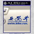 Swim Bike Run Triathlon Decal Sticker Blue Vinyl 120x120