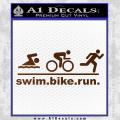Swim Bike Run Triathlon Decal Sticker Brown Vinyl 120x120