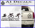 Swim Bike Run Triathlon Decal Sticker CFB Vinyl 120x97