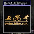 Swim Bike Run Triathlon Decal Sticker Gold Metallic Vinyl 120x120