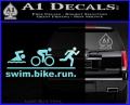 Swim Bike Run Triathlon Decal Sticker Light Blue Vinyl 120x97
