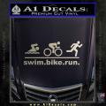 Swim Bike Run Triathlon Decal Sticker Metallic Silver Vinyl 120x120