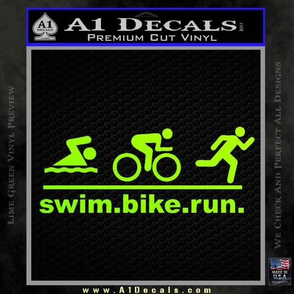 Swim Bike Run Triathlon Decal Sticker Neon Green Vinyl