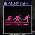 Swim Bike Run Triathlon Decal Sticker Neon Pink Vinyl 120x120