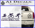 Swim Bike Run Triathlon Decal Sticker Purple Vinyl 120x97