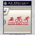 Swim Bike Run Triathlon Decal Sticker Red Vinyl 120x120