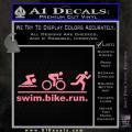 Swim Bike Run Triathlon Decal Sticker Soft Pink Emblem 120x120