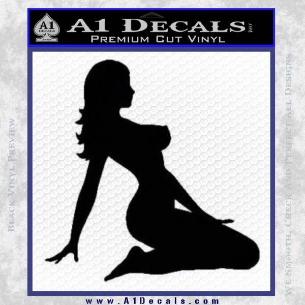 Trucker Girl 10 Decal Sticker Black Vinyl