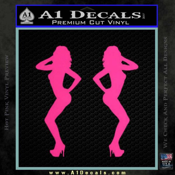 Two Ladies Nude B 1 Decal Sticker Pink Hot Vinyl