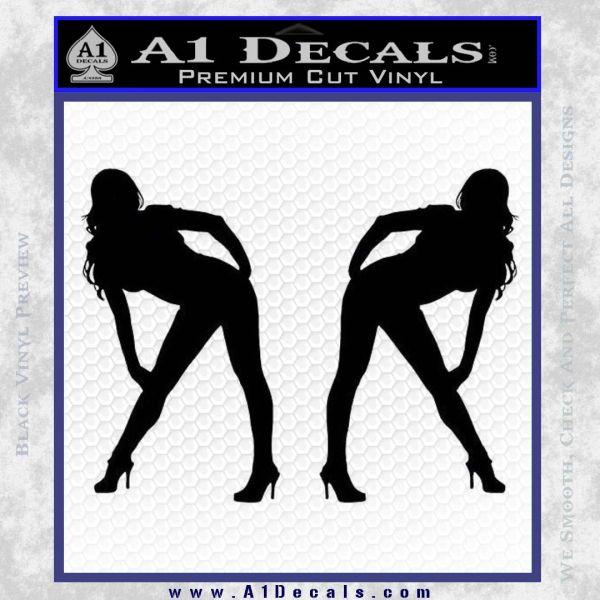 Two Ladies Nude Decal Sticker Black Vinyl