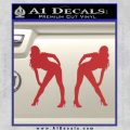 Two Ladies Nude Decal Sticker Red 120x120