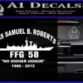USS Samuel Roberts FFG 58 Decal Sticker whitet 120x120