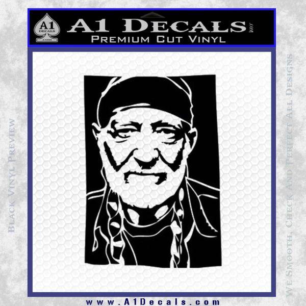 Willie Nelson Poster Decal Sticker Black Vinyl