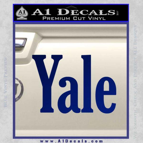 Yale Decal Sticker Blue Vinyl