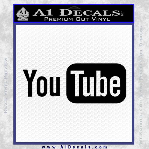 YouTube Logo Decal Sticker Black Vinyl