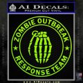 Zombie Outbreak Response Team D2 Decal Sticker Lime Green Vinyl 120x120