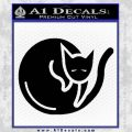 Cat Circle Decal Sticker Black Vinyl 120x120