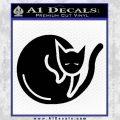 Cat Circle Decal Sticker Black Vinyl 120x120