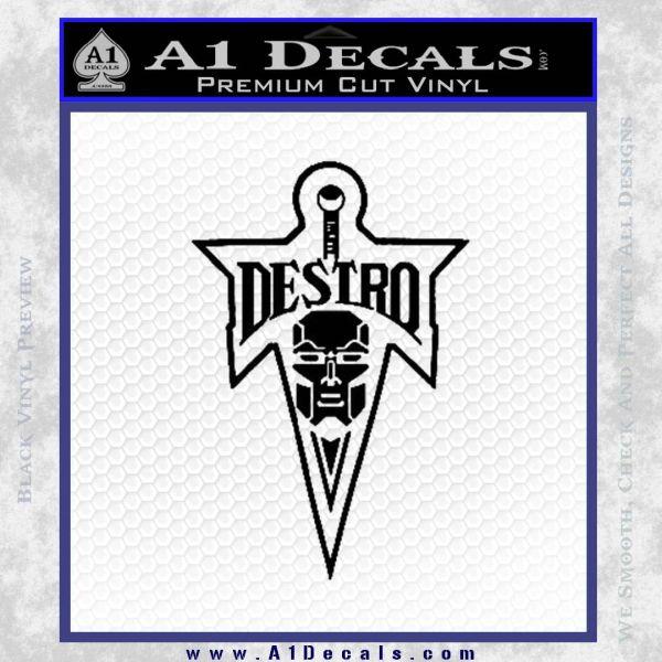 Cobra Destro Gi Joe D1 Decal Sticker Black Vinyl