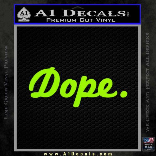 Dope JDM Slick D1 Decal Sticker Lime Green Vinyl