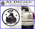 Duck Halo Decal Sticker Carbon FIber Black Vinyl 120x97