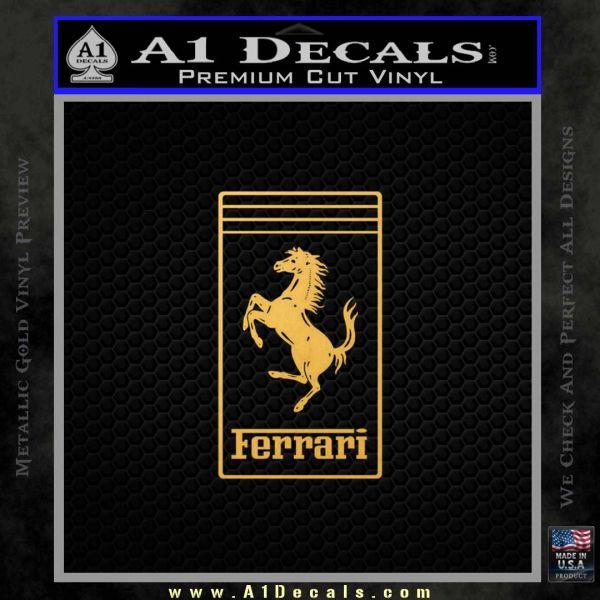 FERRARI Emblem D2 Decal Sticker Gold Vinyl