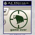 Game Over Bear Hunting Decal Sticker Dark Green Vinyl 120x120