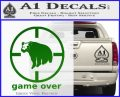 Game Over Bear Hunting Decal Sticker Green Vinyl Logo 120x97