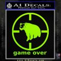 Game Over Bear Hunting Decal Sticker Lime Green Vinyl 120x120