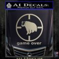 Game Over Bear Hunting Decal Sticker Metallic Silver Emblem 120x120