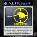 Game Over Bear Hunting Decal Sticker Yellow Laptop 120x120