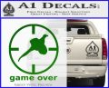 Game Over Bird Hunting Decal Sticker Green Vinyl Logo 120x97