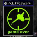 Game Over Bird Hunting Decal Sticker Lime Green Vinyl 120x120