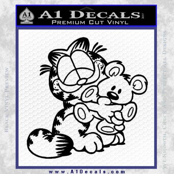 Garfield w Pookie Decal Sticker Black Vinyl