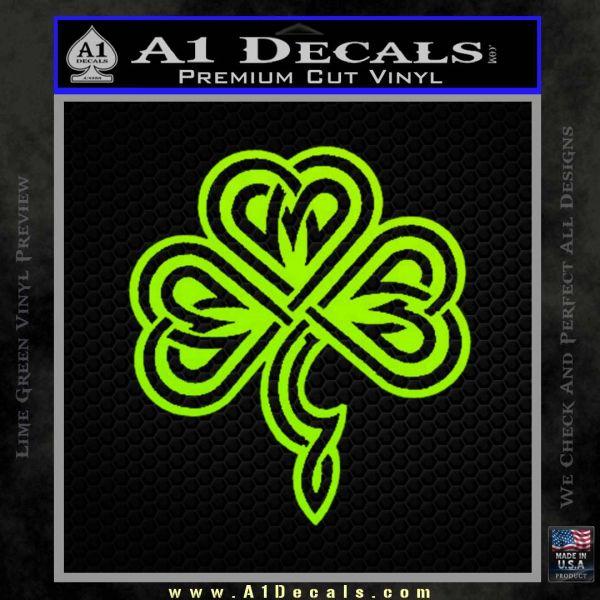 Irish Shamrock Clover Celtic D1 Decal Sticker Lime Green Vinyl