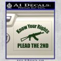 Know Your Rights Plead The 2nd Decal Sticker Dark Green Vinyl 120x120